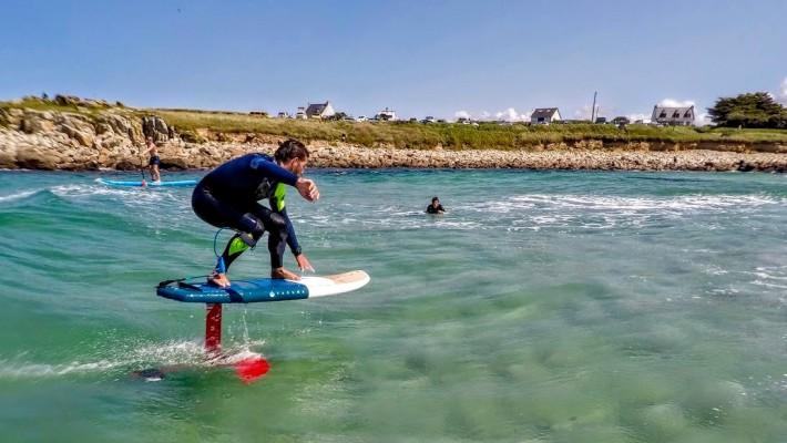 Greg Closier carves through the waves in Brittany
