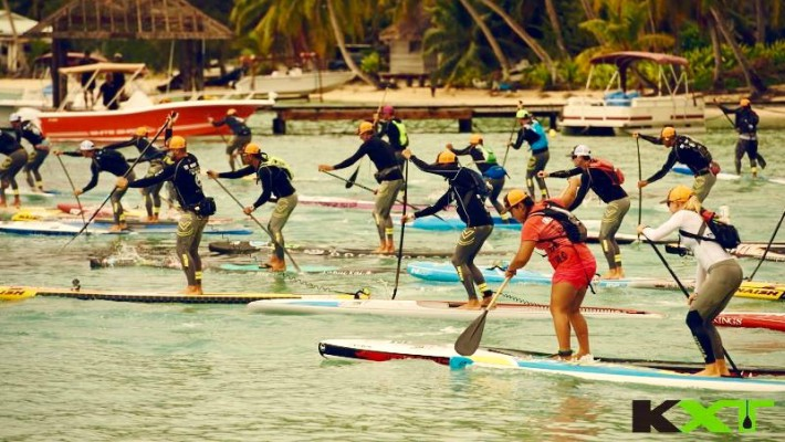 Competitors go head-to-head on their SUP boards at Ironmana 2016