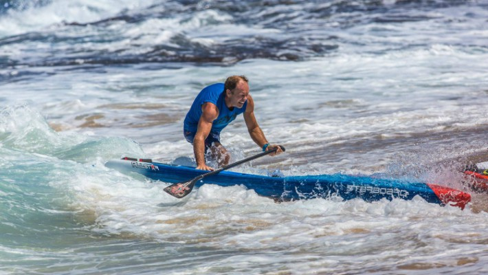 Bart de Zwart crashes on the shore at a competitive event aboard his Starboard All-Star
