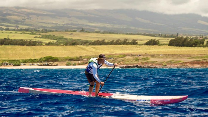 James Casey fights against the current in Maui during the 2017 Maui SUP Cup in Hawaii
