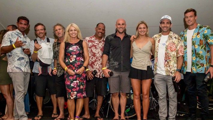 Karla Gilbert poses alongside fellow participants at the closing ceremony of the Maui Jim Ocean Shootout