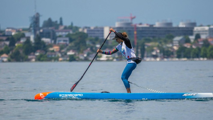 Olivia Piana practices SUP in the south of France, of which she is a native