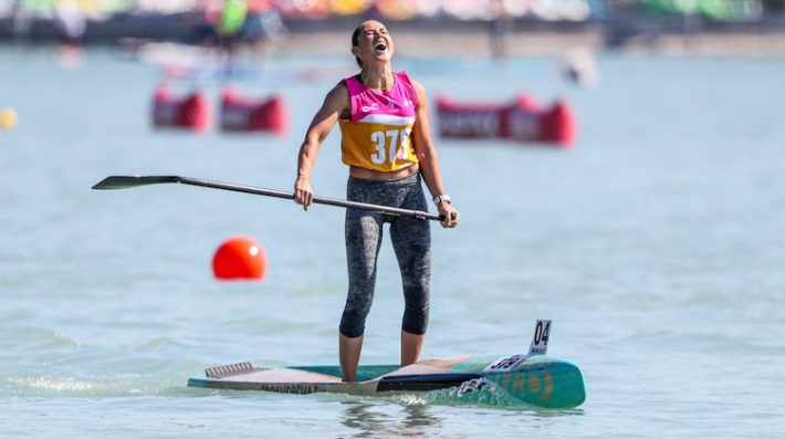 Elena Prokhorova and Noic Garioud win gold in the Sprints at 2021 ICF SUP WORLDS